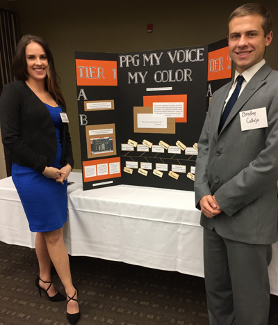 Pictured are School of Business students Noel Knostman and Bradley Calleja at the 2017 American Marketing Association Pittsburgh Chapter Collegiate Marketing Competition. | Photo by Paige Beal