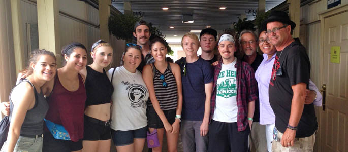 Students meet warped tour founder work at shania twain concert pictured are saem students meeting with kevin lyman founder and producer of the vans warped m4hsunfo