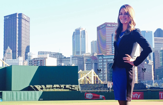 Pictured is SAEM alumna Samantha Lynn, advertising coordinator for the Pittsburgh Pirates. | Photo by Deanne Zatko