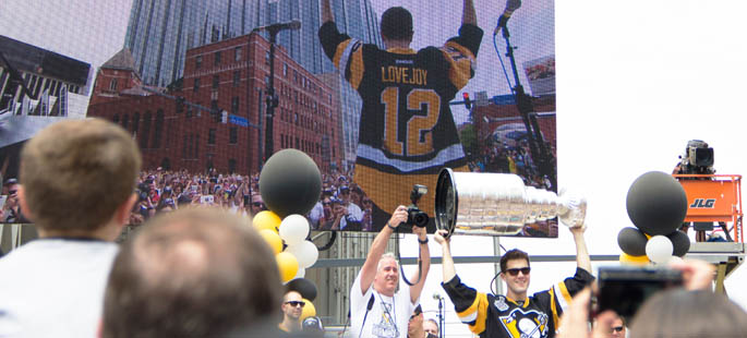 Pictured is Ben LoveJoy at the Stanley Cup Parade. | Photo by Shayna Mendez