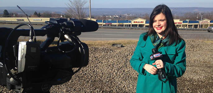 Pictured is School of Communication alumna Kelsie Metzgar, a reporter for WTAJ-TV. Submitted photo.