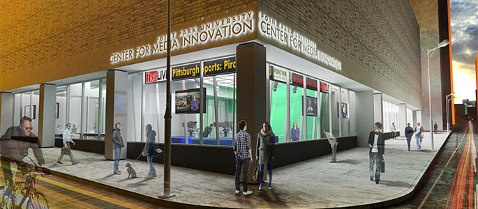 The exterior of the new Center for Media Innovation.