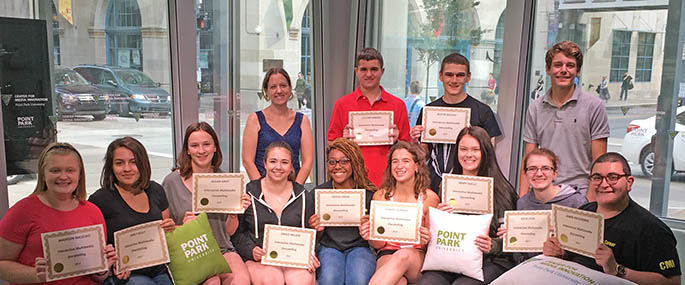 Fourteen high school students explored Downtown Pittsburgh and gained hands-on experience in their career-to-be at Point Park University's Interactive Multimedia Storytelling workshop held July 17-20 in the Center for Media Innovation.