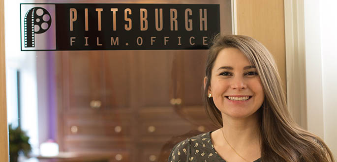 Pictured is School of Communication student Abbey Newhouse at the Pittsburgh Film Office. Photo | Victoria A. Mikula
