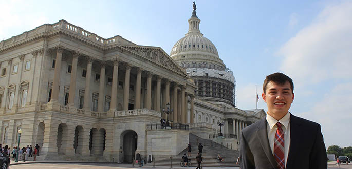Broadcast major Alex Grubbs is pictured on Capitol Hill in Washington, D.C. Photo | Penny Starr