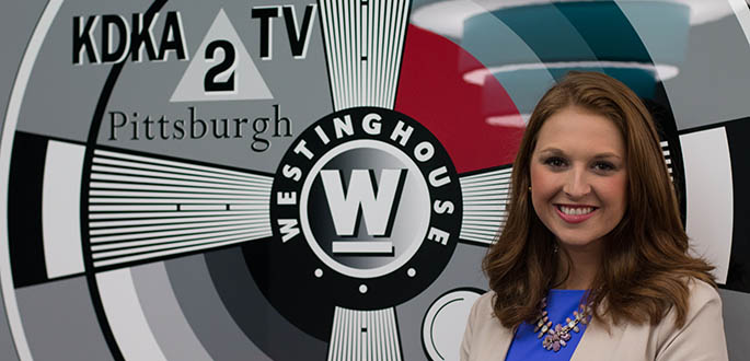 Pictured is School of Communication student Brittany Lauffer at KDKA-TV. Photo | Victoria A. Mikula