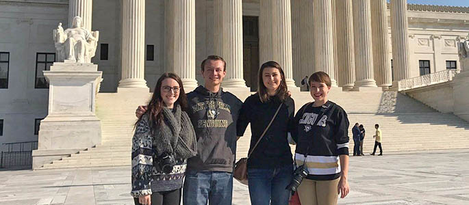 Point Park students left to right: Nikole Kost, Josh Croup, Nicole Pampena and Gracey Evans visit the Supreme Court in Washington, D.C. Submitted photo