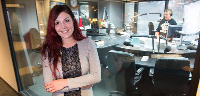 Pictured is School of Communication alumna Kayla Seybert at KDKA Radio. Photo | Christopher Rolinson