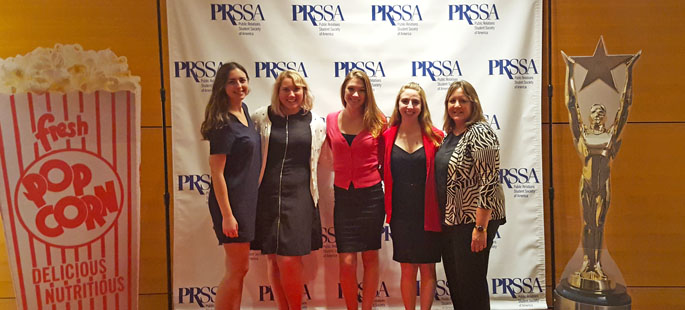 Point Park students and instructor Camille Downing at the PRSSA conference in Atlanta. Photo | Kariann Mano