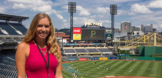 Broadcast reporting major Sara Mackulin is a media relations intern for the Pittsburgh Pirates. Photo | Annie Brewer
