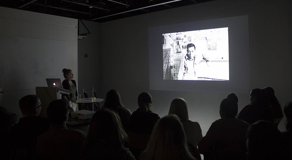 Pictured is Stacy Kranitz during her presentation in the Center for Media Innovation. Photo | Shayna Mendez