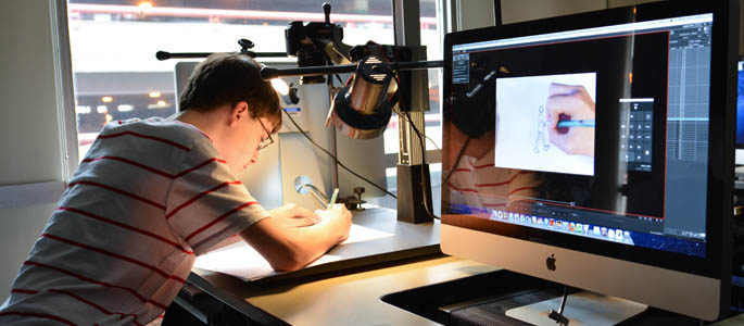 Pictured is a student in the traditional animation summer workshop. Photo | Connor Mulvaney