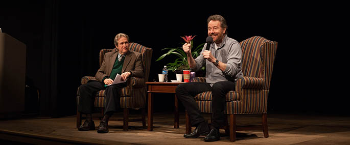 Actor, screenwriter, producer and director Bryan Cranston speaks to Point Park University students. Photo | Olivia Ruk