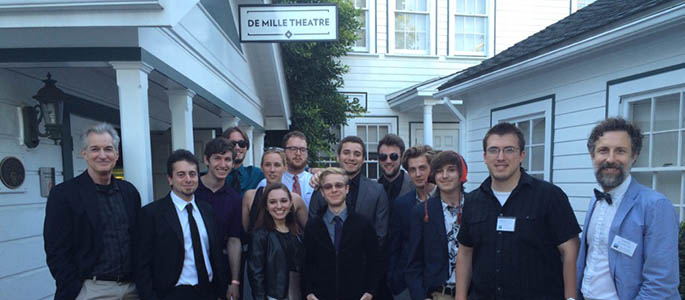Point Park students and faculty outside of the historic Cecil B. Demille Theatre at the Culver Studios in Los Angeles.