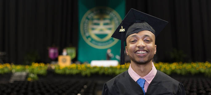 Pictured is cinema production graduate Lexx Truss at Point Park's 2015 commencement ceremony. | Photo by John Altdorfer