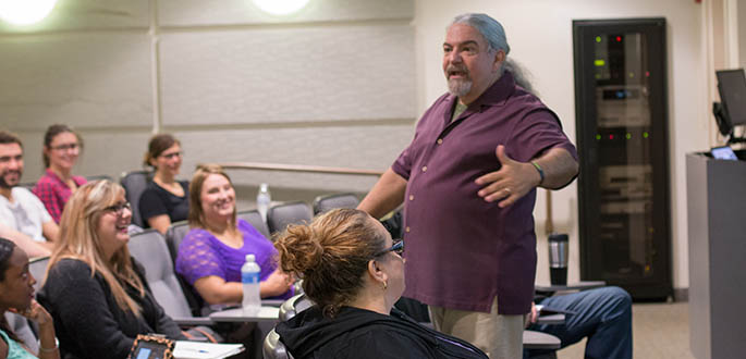 Don Marinelli speaks to Point Park's M.F.A. in screenwriting and playwriting class in the University Center. Photo | Victoria A. Mikula