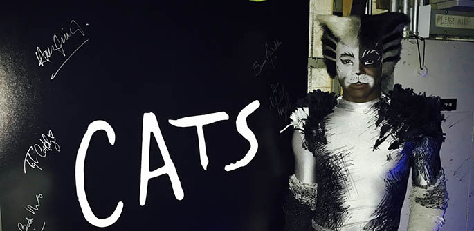 Pictured is alumnus Ahmad Simmons as Alonzo in CATS on Broadway. Submitted photo