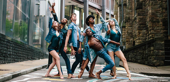 Pictured are Point Park University dance majors in Downtown Pittsburgh. Photo | Katie Ging