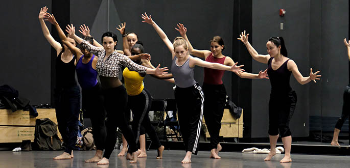 Company members from Pilobolus' Shadowland hosted a master class with Point Park University dance majors Feb. 10. Photos | Brian Cohen
