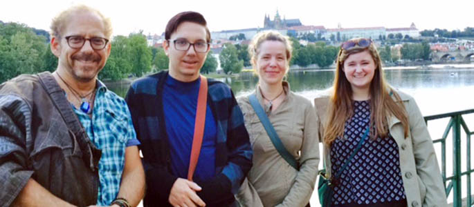 Students and faculty at the Prague Quadrennial. Submitted photo