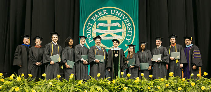 Pictured are graduates of Point Park University's online degree programs at commencement. Photo | John Altdorfer