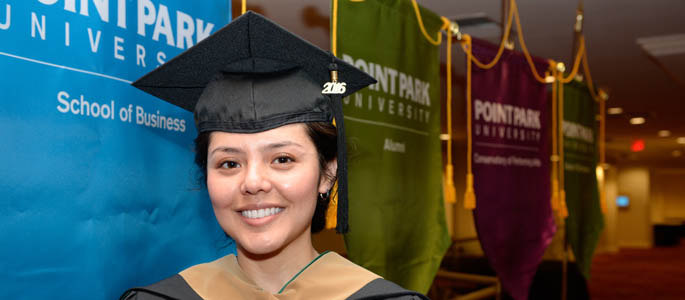 Pictured is Sharon Rodriguez, M.A. in leadership graduate. | Photo by Chris Rolinson