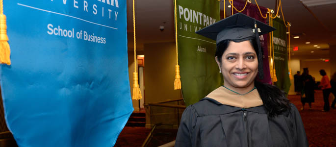 Pictured is M.B.A. graduate Sridevi Vemulapalli. | Photo by Chris Rolinson
