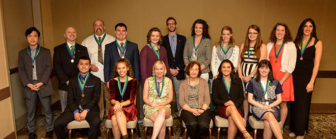 Point Park University inducted 38 juniors and seniors into the Alpha Chi National College Honor Society April 22 in advance of the Outstanding Student Awards banquet. Photo | Jim Judkis