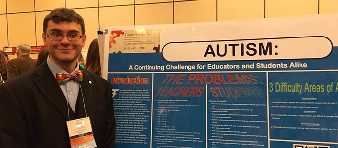 Point Park University student Tim Grebeck with his poster at the 2016 National Collegiate Honors Council in Seattle. Submitted photo