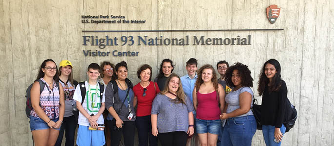 Point Park Honors students visit the Flight 93 National memorial. Submitted photo