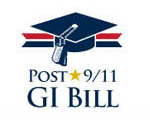 Red, white and blue mortorboard logo representing the Post 9/11 GI Bill program.