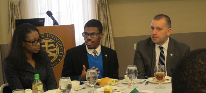 Pictured is Blaine King, president of Point Park's United Student Government, engaged in a roundtable discussion at the 2016 Martin Luther King Jr. Leadership Luncheon. | Photo by Amanda Dabbs