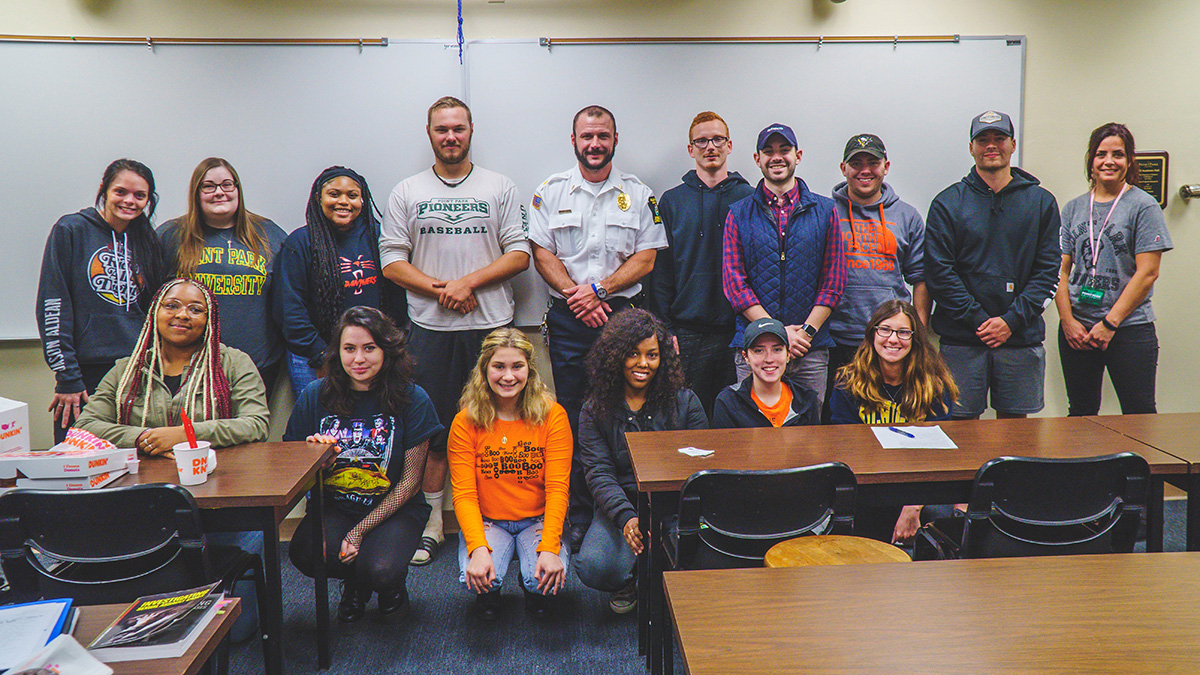 Pictured is Christine Secilia's criminal justice class with Major Adam Smith. Photo by Emma Federkeil.