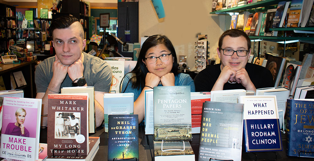 Pictured is literary arts alumni Patrick Morris, Andie Fullmer and Josh Hrala. Photo by Brandy Richey.