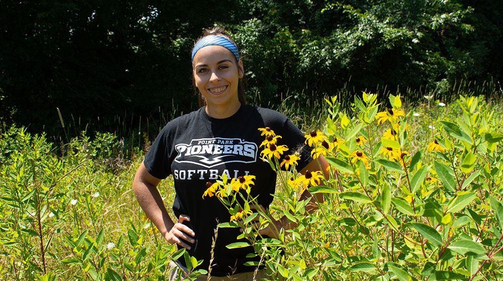 Pictured is biological sciences student and Allegheny Land Trust intern Paula Ambrose. Photo by Brandy Richey.