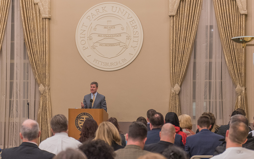 Pictured is Pittsburgh Pirates president Frank Coonelly at Point Park University. | Photo by Nick Koehler