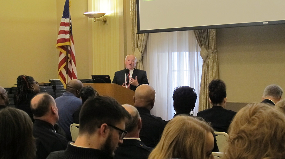 Pictured is Professor Richard Linzer giving the keynote address at teh Pittsburgh Police Years of Service Recognition Ceremony. Photo by Amanda Dabbs