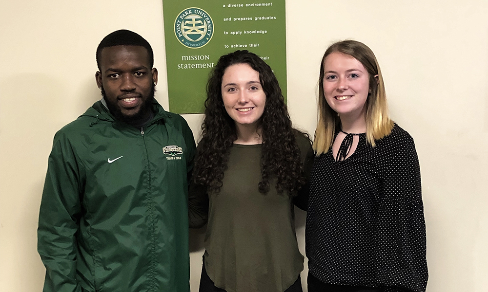 Pictured left to right are Andre Bennett, Jenna Herman and Madeline King.