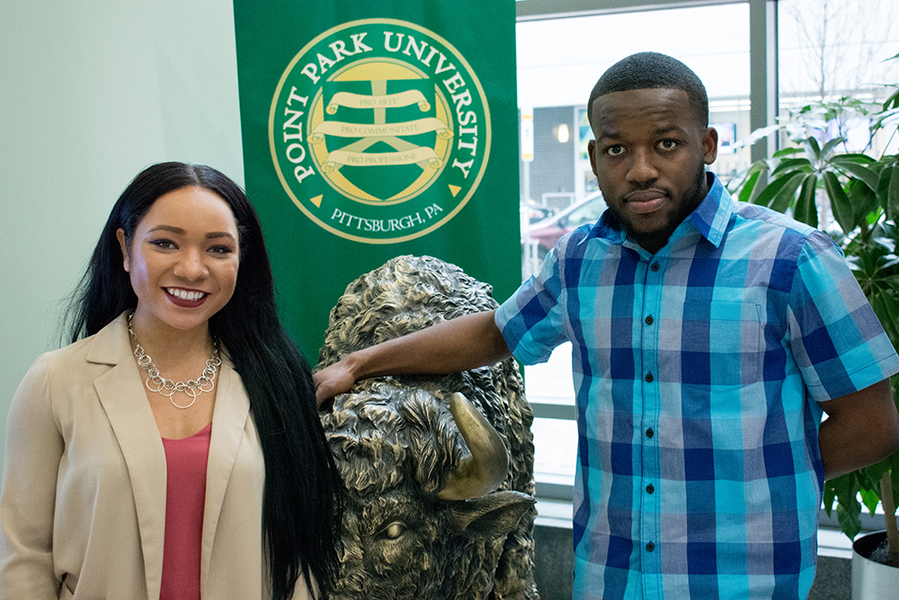 Pictured are accounting students Chereese Langley and Andre Bennett. | Photo by Brandy Richey