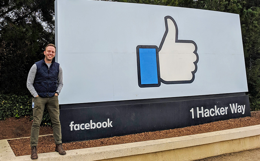 Pictured is SAEM alumnus David Jacobs at Facebook headquarters. Photo submitted by Jacobs.