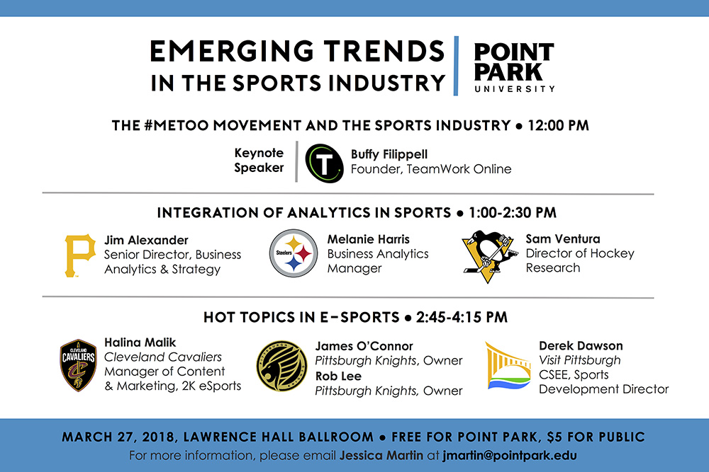 Pictured is the poster for the Emerging Trends in the Sports Industry 2018 seminar.