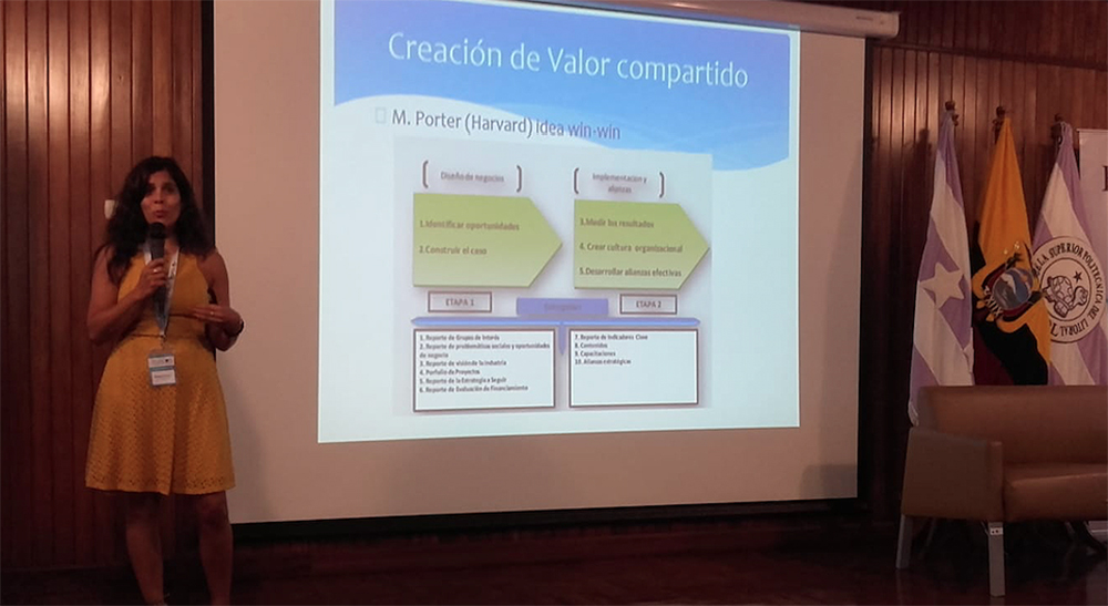 Pictured is Helena Knorr, Ph.D. presenting at ESPOL university in Ecuador. Photo submitted by Knorr.