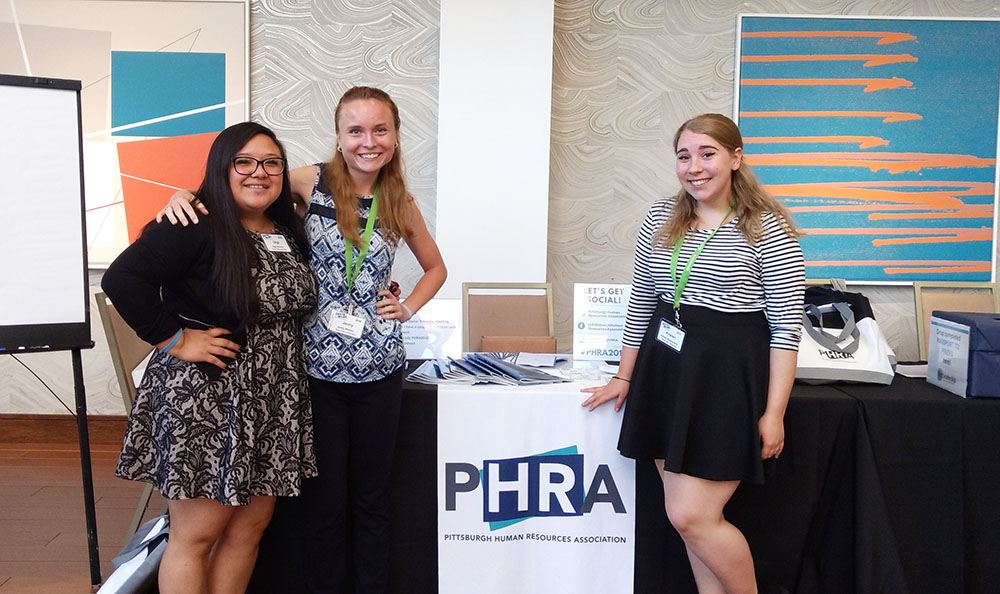 Pictured are HR students at the 2018 Pittsburgh Human Resource Association Conference. Photo by Sandra Mervosh.