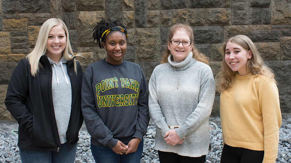 Pictured are Point Park HR management students with Professor Mervosh. Photo by Brandy Richey.
