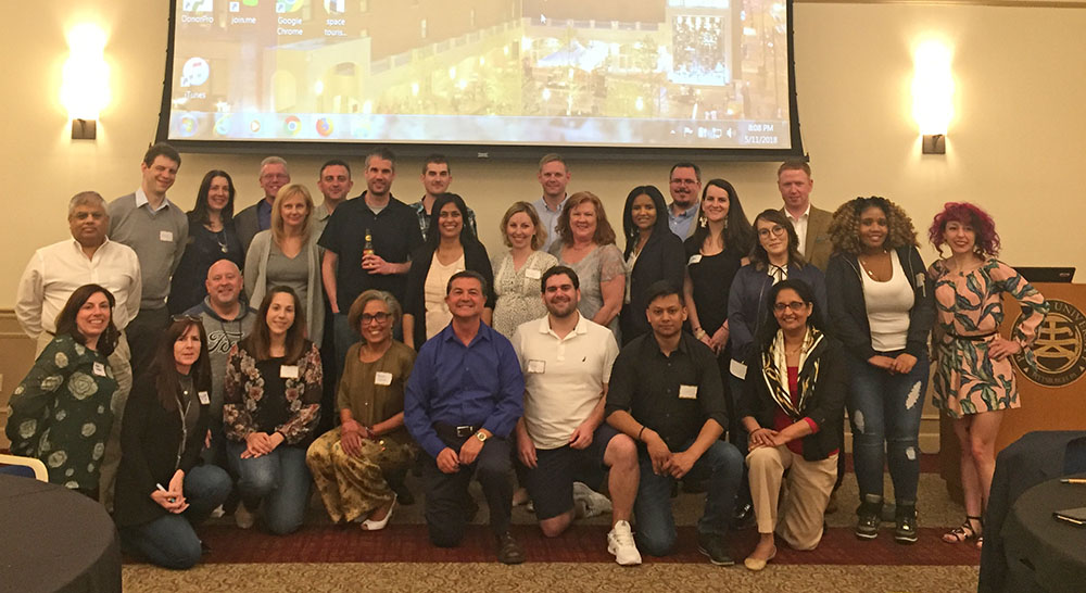 Pictured is Dr. Dimitris Kraniou with Point Park M.B.A. alumni, students and faculty. Photo submitted by M.B.A. alumna Kari Carbone.