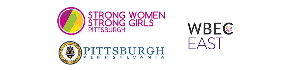 Pictured are the logos for Strong Women, Strong Girls; the City of Pittsburgh; and the Women's Business Enterprise Center-East.