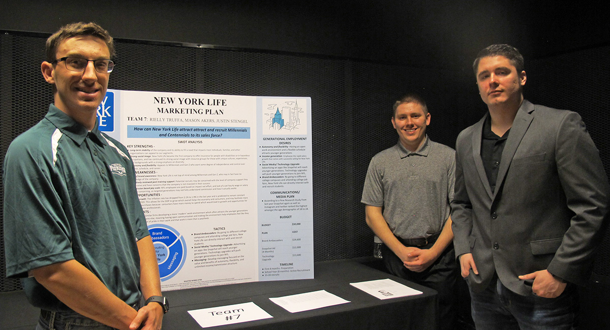 Pictured left to right are undergraduate students Mason Akers, Justin Stengel and Rielly Truffa. Photo by Amanda Dabbs