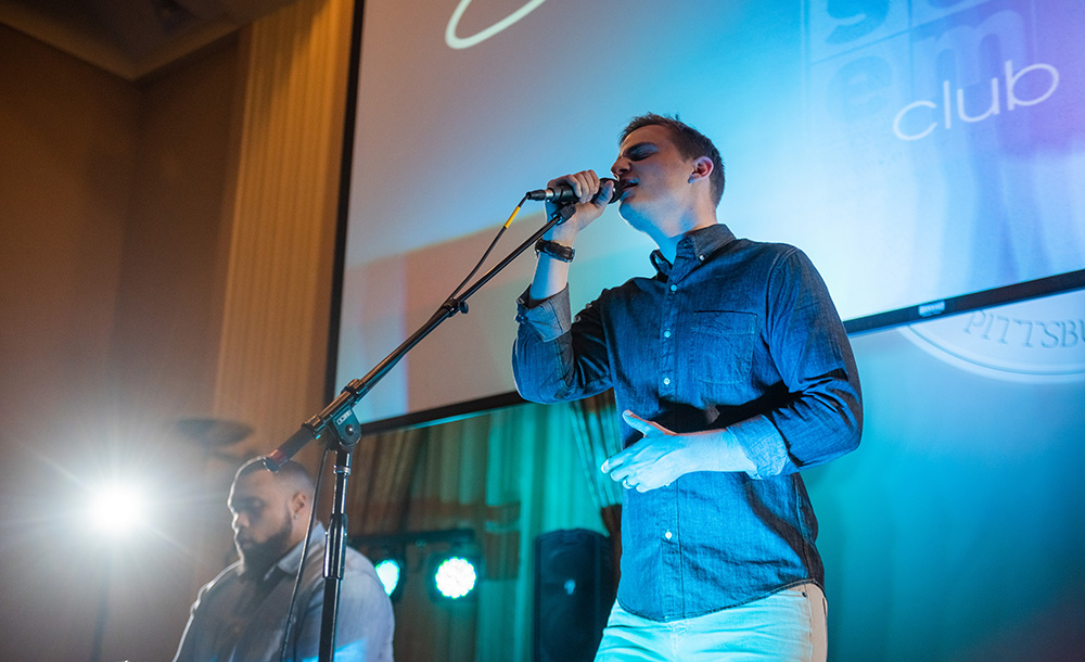 Pictured is Chris Jamison performing at Point Park University. Photo by Nick Koehler