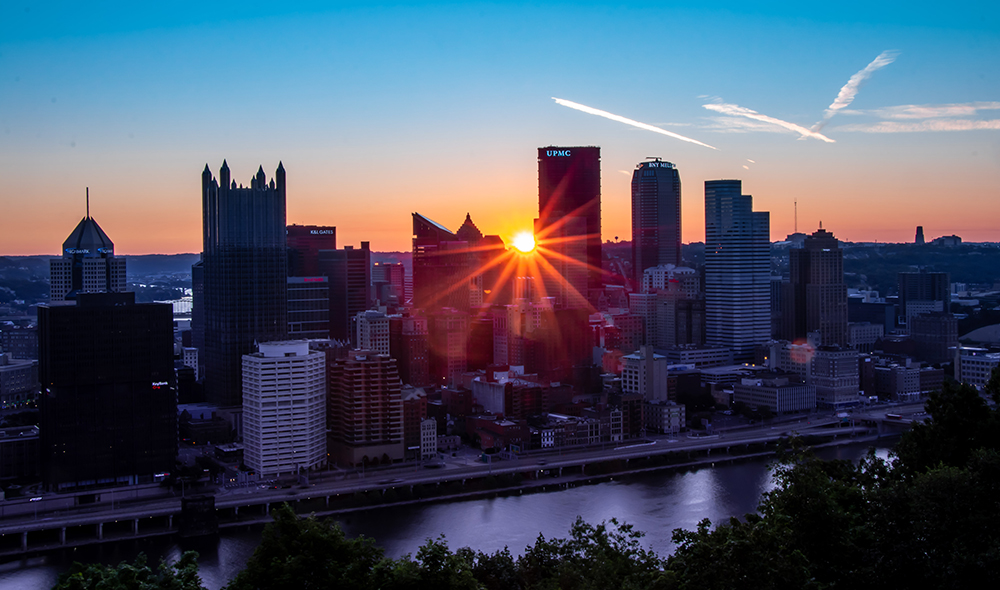 Downtown-Pittsburgh-shot-with-sun by Mallory Neil