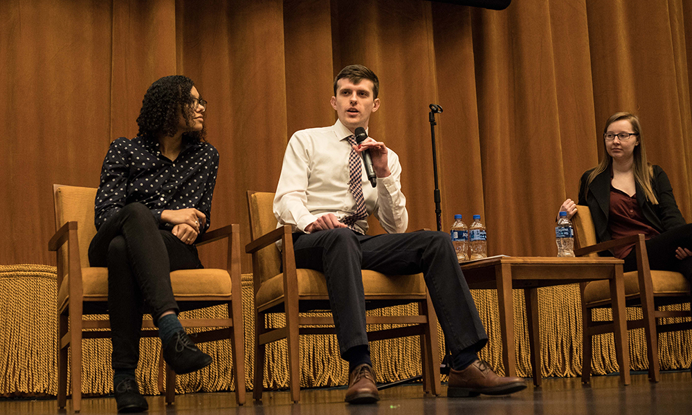 Pictured left to right are Marcyssa Brown, Matt Whitaker and Halina Malik. Photo by Hannah Johnston